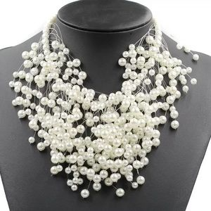 Simulated White Pearl Pendent Necklace